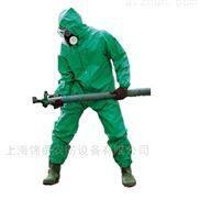 连体防化服_绿色PVC 带衬化学防护服